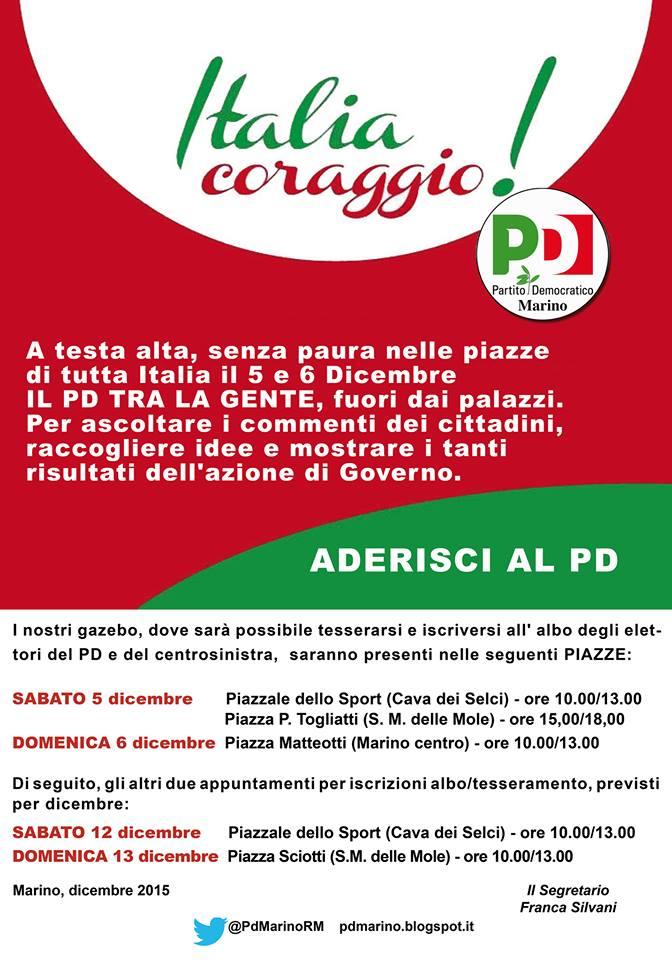 MARINO, PD A TESTA ALTA CON 'ITALIA, CORAGGIO!' PROSEGUE LA PRESENZA DELLE PIAZZE MARINESI NEI WEEKEND 5-6 E 12-13 DICEMBRE