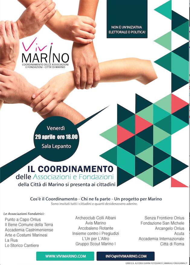 Marino: oggi Presentazione del Coordinamento delle Associazioni e Fondazioni della Città di Marino