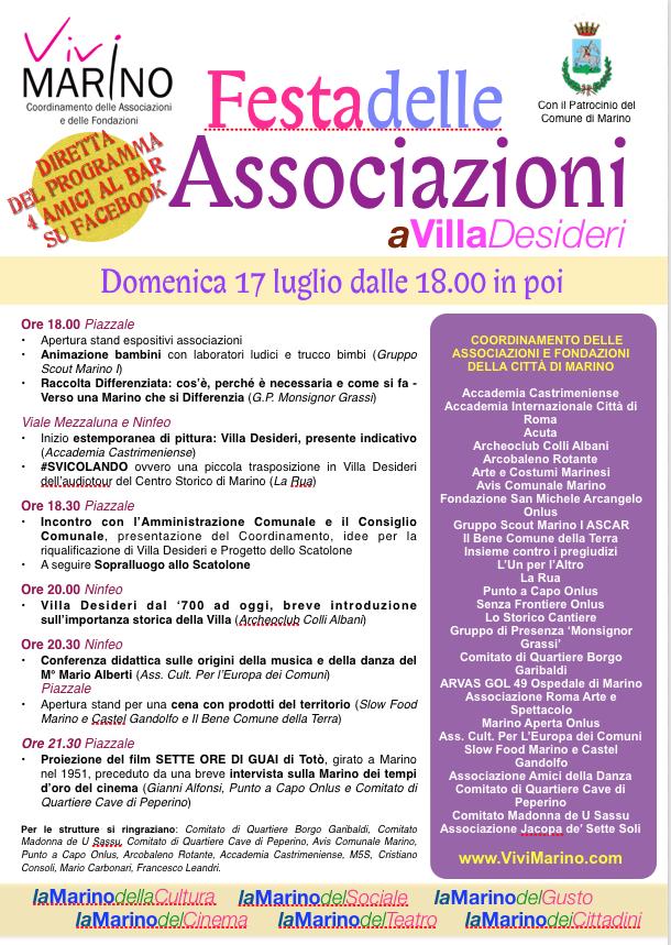 Marino: domenica 17 luglio a Villa Desideri ci sarà la I^ Festa delle Associazioni – ViviMarino.com