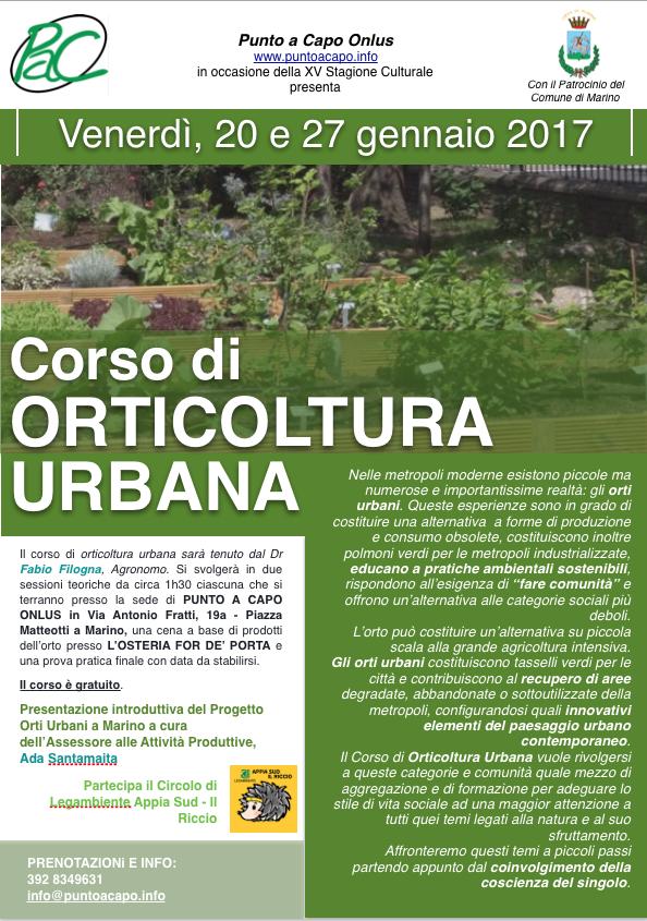 Marino: corso gratuito di Orticoltura Urbana a Punto a Capo Onlus. Partecipano il Comune di Marino che patrocina l'evento e Legambiente