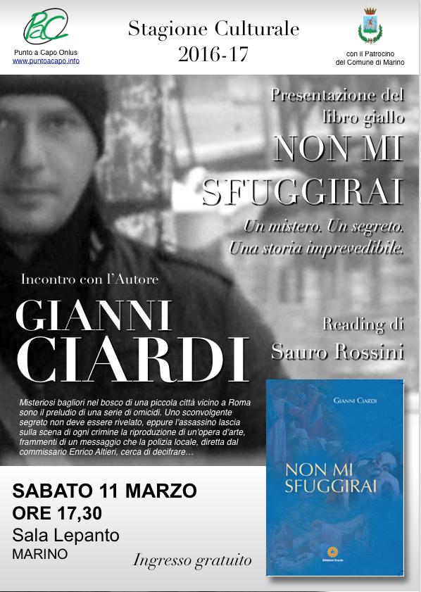 Marino: l'11 marzo Gianni Ciardi presenta il suo giallo ambientato nei Castelli Romani e giunto nella Top 20 dei libri più venduti su Amazon