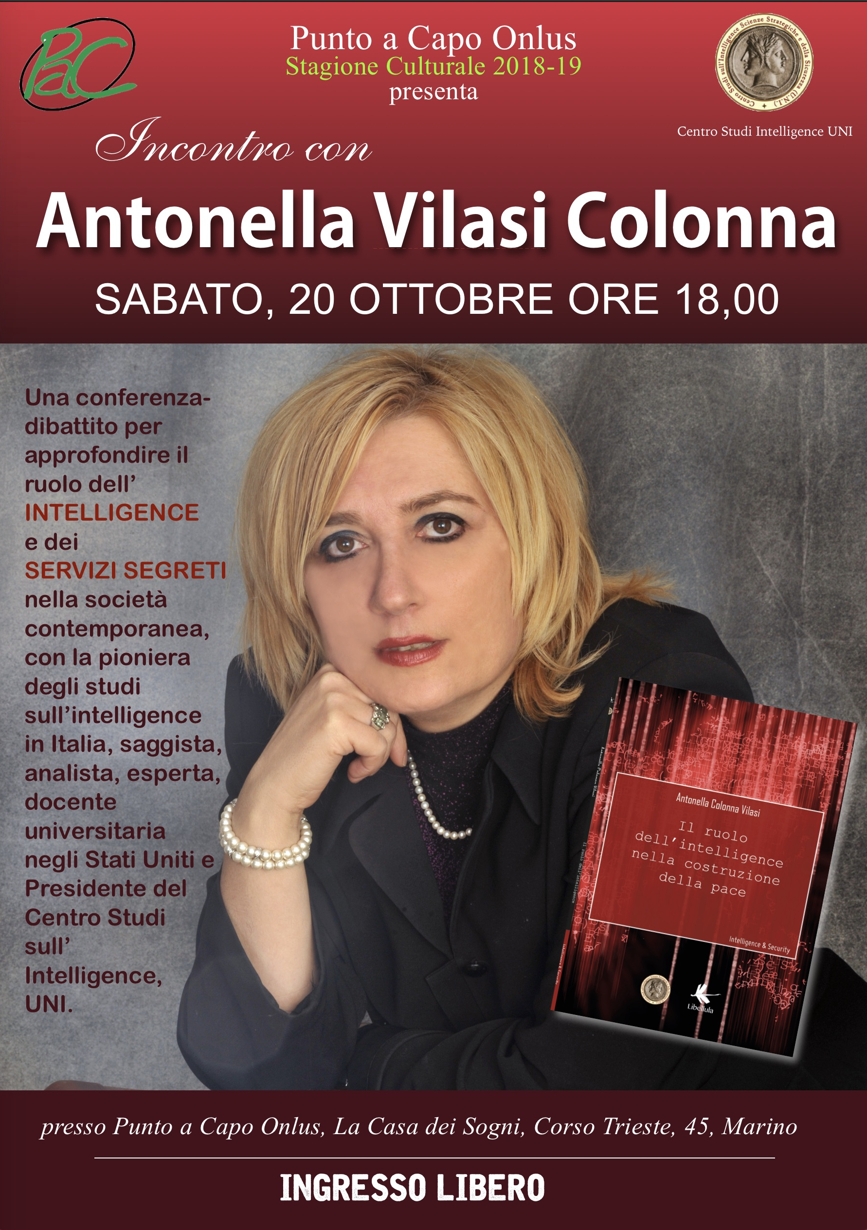 Antonella Vilasi Colonna domani a Marino (RM) per parlare dei Servizi Segreti