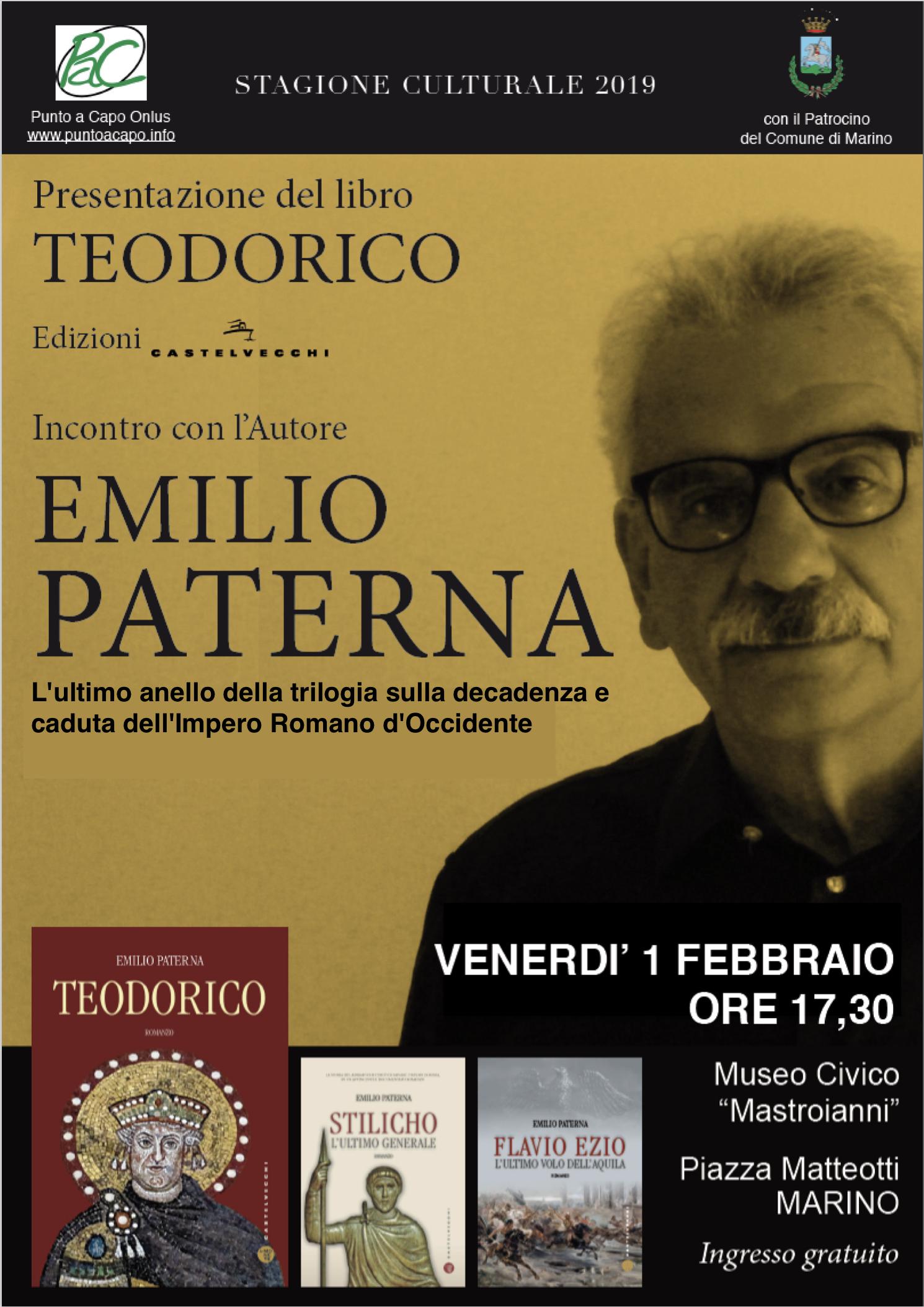 Marino: al Museo Civico Mastroianni, Emilio Paterna presenta il suo terzo libro della saga sull'Impero Romano TEODORICO