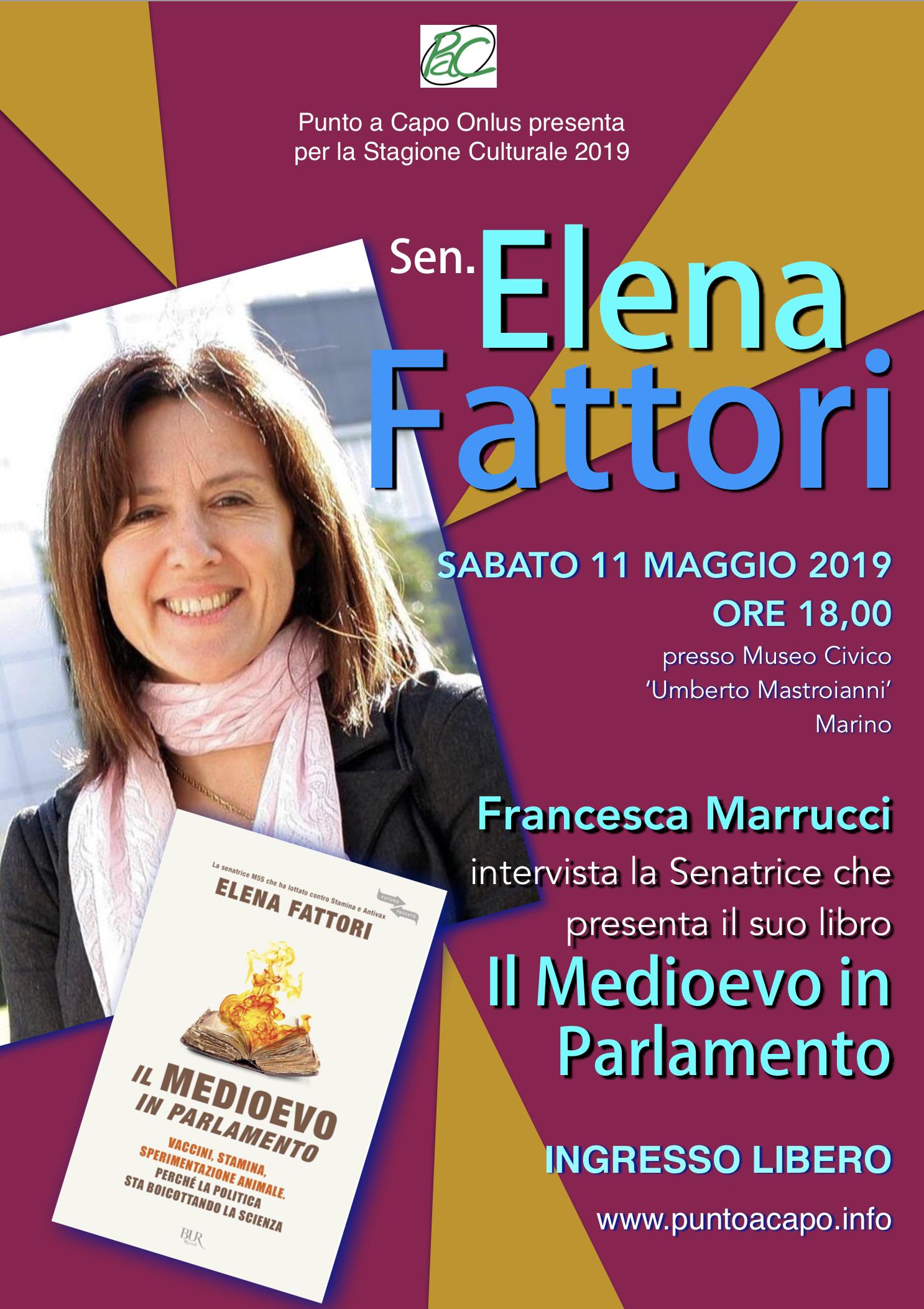Marino: la Sen. Elena Fattori presenta il suo libro 'Il Medioevo in Parlamento' al Museo Civico