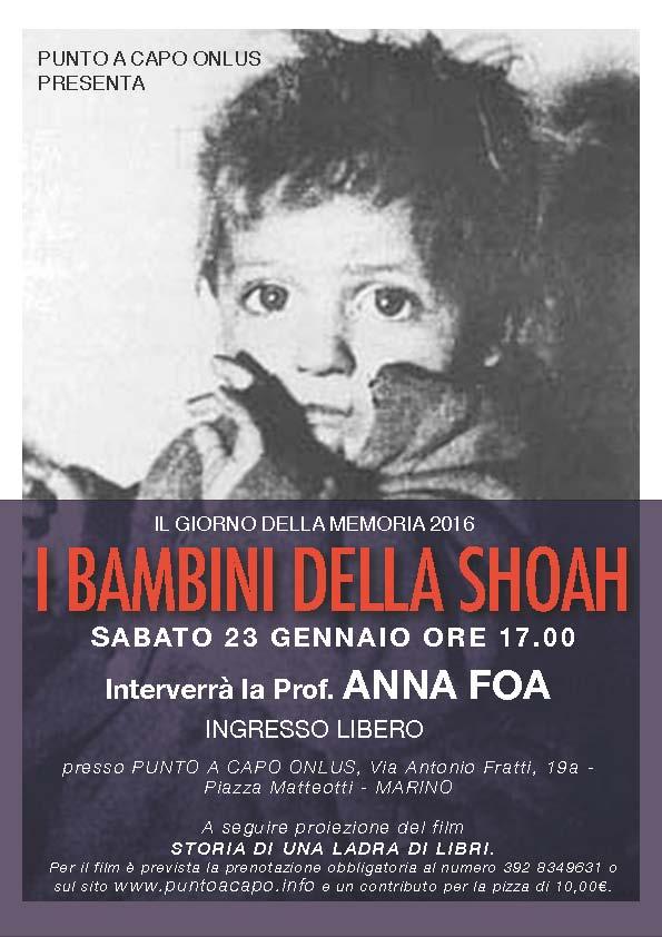 Anna Foa a Marino (RM) il 23 gennaio per parlare dei BAMBINI DELLA SHOAH