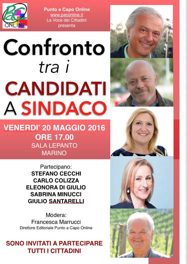 Marino: domani confronto pubblico dei cinque candidati a Sindaco sui programmi