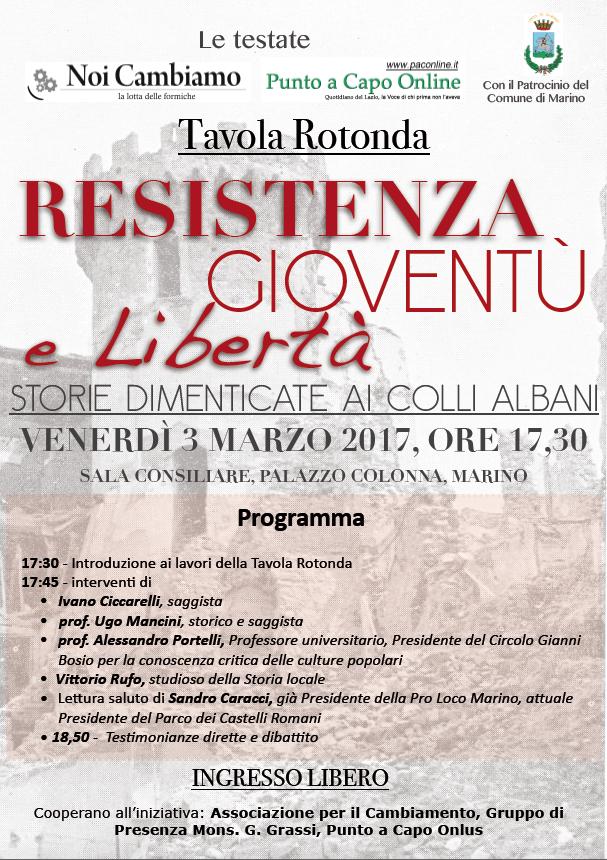 Marino: il 3 marzo si parla di Resistenza, gioventù e libertà, ripercorrendo la Storia della Resistenza nei Castelli Romani e a Marino