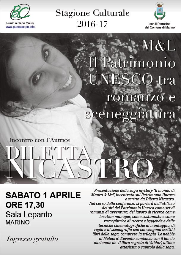 Il 1° aprile Diletta Nicastro a Marino tra misteri, Storia, letteratura, cinema e luoghi patrimonio dell'UNESCO