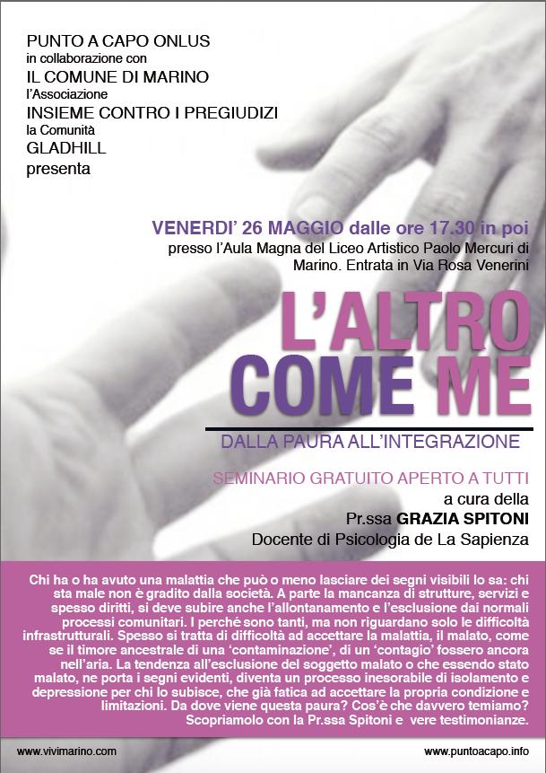 Marino: il 26 maggio si parla di paura della malattia e importanza dell'integrazione del malato con la Prof.ssa Spitoni e le Associazioni del territorio