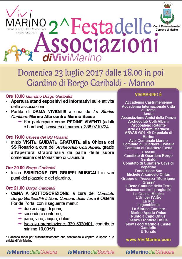 ViviMarino: Parziale annullamento 2^ Festa delle Associazioni in programma oggi