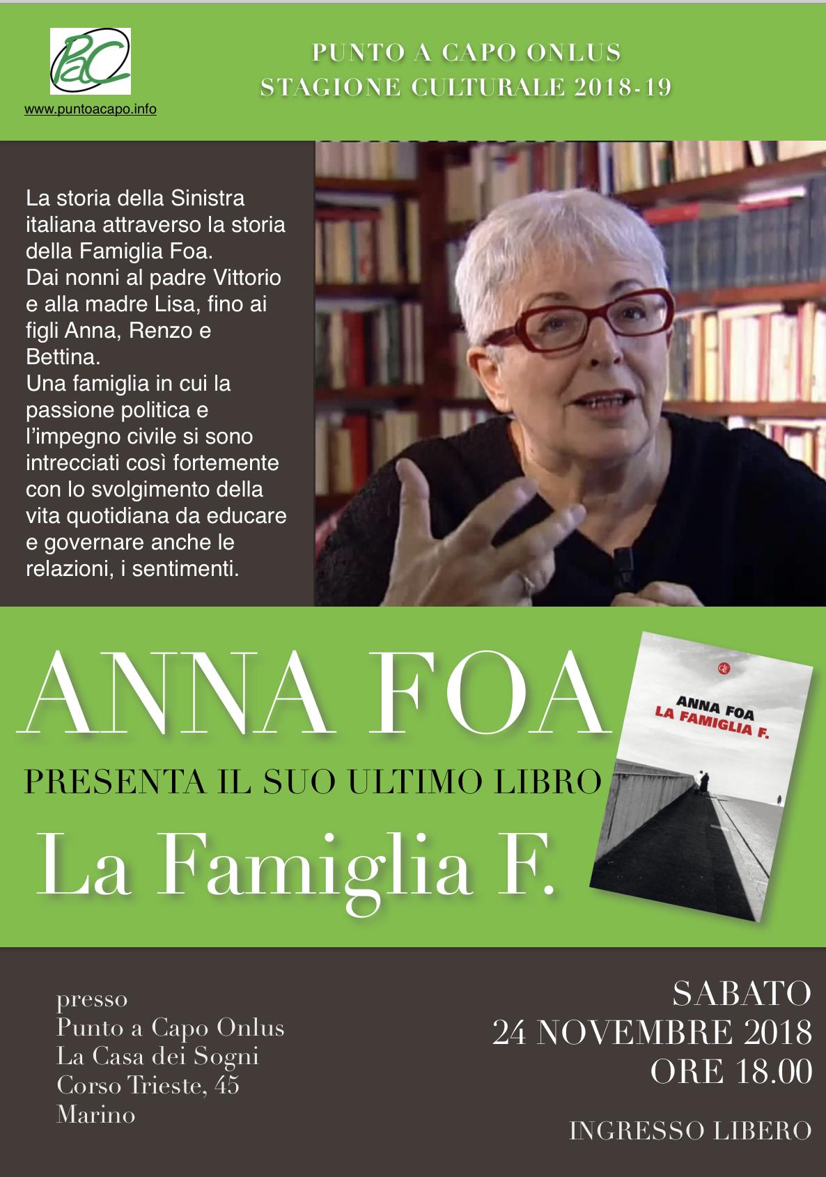 Marino: Anna Foa, storica e scrittrice, presenta a Punto a Capo Onlus il suo libro 'La Famiglia F.' il 24 novembre 2018