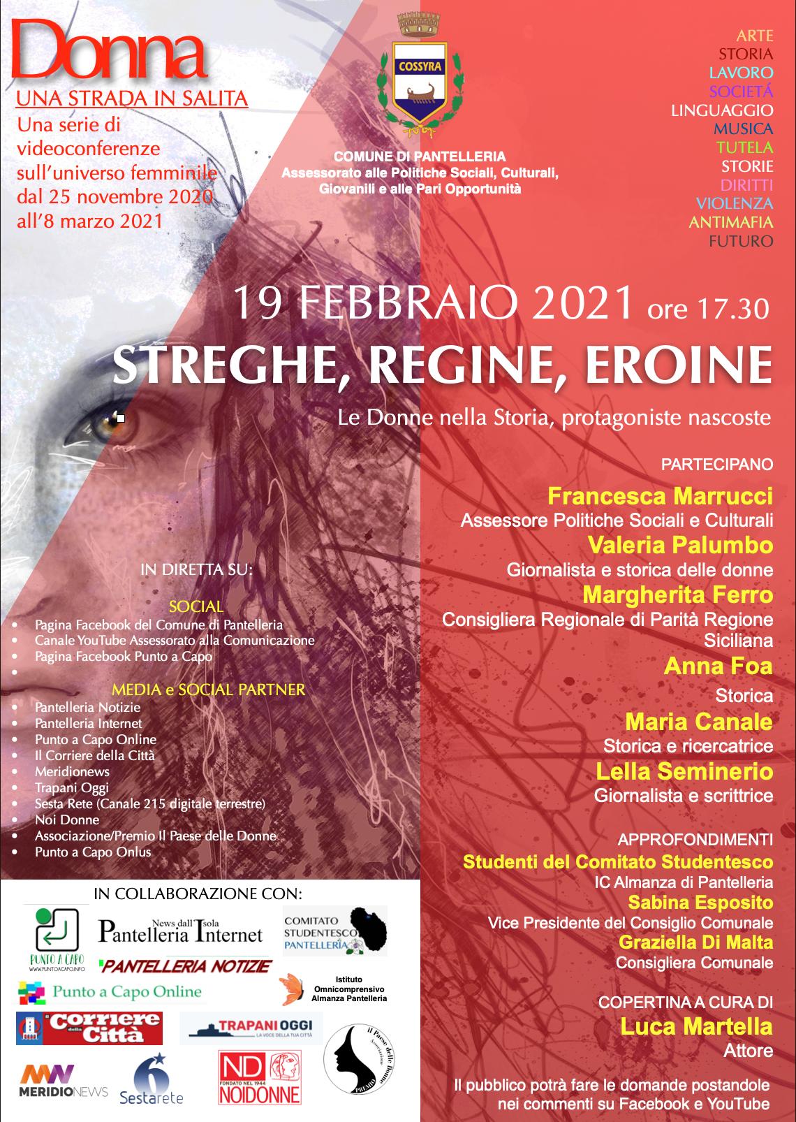 Pantelleria, dal 19 febbraio al via le tre videoconferenze ed il concerto finali del Progetto 'Donna: Una Strada in Salita' con ospiti di altissimo livello